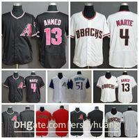 2020 Top Men Baseball 4 Ketel Marte 13 Nick Ahmed Jersey 51 Randy Johnson Home Blick White 모든 스틴 핀 스트라이프 FlexBase 우수한 품질