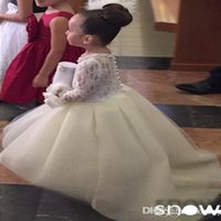 Family Matching Outfits White Ivory Long Sleeves High Low With Train Pearls Beads Flower Girl Dress For Wedding Kid Gown