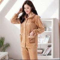 Pajamas Set Pyjama Flannel Sexy Women Sleepwear Warm Femme Plush Thick 2Piece Mom Print Homewear Clothes Plus Size