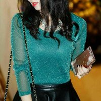 Women Fashion T-shirts Shiny Mesh Party Blouses Tops Round Neck Long Sleeve FS99 Women's & Shirts