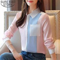 Fashion Chiffon Blouses Office Lady Shirts Autumn Women Casual Long Sleeve Pocket Tops Spliced Clothing 6196 50 210506