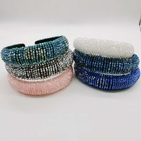 New Designers Bling Rhinestone Hair Bands for Women Girl Brand Elastic Headband Party Wedding Headband Head Wrap