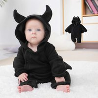 Baby Hooded Cartoon Black Bat Jumpsuit Cosplay Newborn Baby Boy Girl Halloween Costumes Outfits Jumpsuit Bodysuit Clothing New H0910