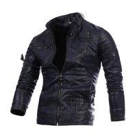 Homme Cuir Veste Ciel Cuir Vêtements Casual PU Cuir Vêtements Lâche Manteau avec 3 couleurs Asiatique Taille M-3XL
