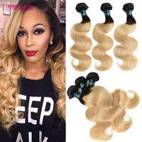 Human Hair Bulks Ombre Brown Highlight Body Wave Weave 3 Bundles Brazilian Remy Dark Root Blonde Weaves Extensions