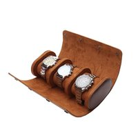 Watch Boxes & Cases Cylinder Shape 3 Slots Storage Gift Box Chic Portable Vintage Case Holder