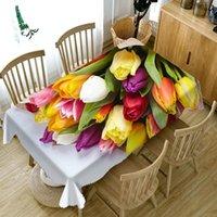 Masa Örtüsü Pastoral Tarzı Renkli Güller Çiçek 3D Masa Örtüsü Toz Geçirmez Yıkanabilir Kalınlaşmak RectigueRound düğün için