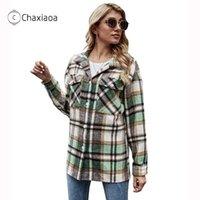 Jaquetas femininas chaxiaoa camisa 2021 outono xadrez blends manga longa camisas femininas senhoras solteiro único peito x410