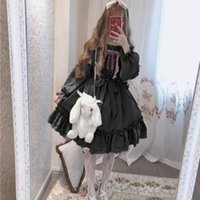 Casual Dresses QWEEK Kawaii Lolita Dress Sweet Style Cute Gothic Yummy Black Long Sleeve Pastel Goth