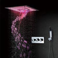 Conjuntos de ducha de baño Panel de lluvia LED LED Sistemas de música Bluetooth Cascada Masaje Grifos Set de 400 mm Cabezales de ducha de cromo