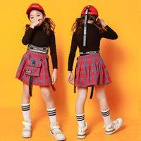 Enfants Jazz Dance Costume Noir Sweat-shirt Tops Jupe à carreaux Pour Girls Hip Hop Vêtements Cheerleader Uniforme DS Tambum Stage