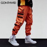 Gonthwid Men's Side Bolsos Cargo Harem Calças Hip Hop Masculino Tatical Moda Calças Moda Streetwear 210715
