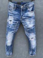 Designer homens dsq jean europa e américa logo casual calça azul buraco lavar calças de brim reto alta qualidade slim denim biker calça magro