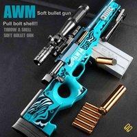 AWM Sniper rifle shell ejeção macia bala arma ar trauma pellet 98k arma de frango tiro s cs brinquedo para menino
