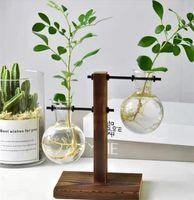 Terrarium Hydroponische Pflanze Vasen Vintage Blumentopf Transparente Vase Holzrahmen Glas Tischplatte Pflanzen Home Bonsai Dekor 510 R2