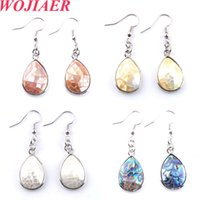 Wojiare Natural Abalone Shell Dangle Orecchini a goccia a forma di gancio perline a forma di gancio orecchini gioielli DBR330