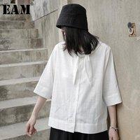 Женщины Блузки Рубашки [EAM] Женщины белый повязка лук большой размер блузки отворота три четверти рукава свободная подходит рубашка мода весна лето 2021
