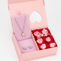Earrings & Necklace Colorfull Jewlery Gift Box Set Rose Flower Stainless Steel Necklace+Bracelet+Earring Ip Gold Plated For
