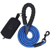Dog Collars & Leashes Leash Reflective For Dogs Walking With Waste Bag Dispenser Set Soft Handle Carrier