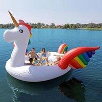 Hot 6-7 Person aufblasbare riesige Rosa Flamingo Pool Float Große See Float Aufblasbare Einhorn Pfau Float Island Wasser Spielzeug Schwimmen Pool Spaß Floß CJ09