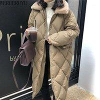 Werueruyu Winter Frauen Lingge Hohe Kragen Lange Baumwollmantel Lose Warme Dicke Baumwolljacke Damen Plus Größe Schwarz Casual Coat1