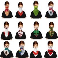 Christmas 3D Digital Printing Mask Children Ear Triangle Towel Scarf Outdoor Protective Breathable Face Cosplay Party Supplies