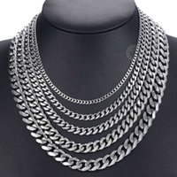 Necklace Curb Cuban Mens Chain Gold Black Sier Color Rvs Chains for Men Fashion Jewelry 3 5 7 9 11mm Dknm07