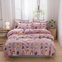 Bedding Sets Fashion Dress Up Girl Pink Kids Plaid Cartoon Luxury Comforter Set Modern King Queen Twin Size Bed Linen Duvet Cover