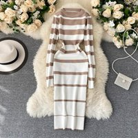Heeylace Vintage Slim Polectory Striped Print Осенние BodyCon вязаный свитер MIDI карандаш платье зимняя вечеринка женщины стрейд повседневные платья