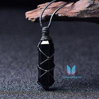 Pendutum Double Terminato Gemstone Obsidian Gemstone Ciondolo di fascino Modi Moda Crystal