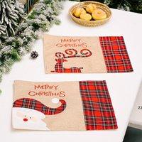Christmas Placemats Buffalo Plaid Santa Gnomes Reindeer Dining Table Mats Home New Year Xmas Decoration HWB10557