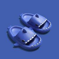 China Marke Blau Stereo Shark Eva Kalttrakt Kinder Hausschuhe Sommer Home Home Toddler Elternkind Slip Weiches Baby