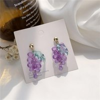 Acrylic Purple Grapes Long Earrings Fashion Girl Sweet Fruit Women Jewelry Gift Birthday Party Accessories Stud