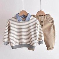 مجموعات الملابس بنين البدلة ملابس الطفل مخطط الاطفال الدعاوى الأطفال ربيع الخريف القطن طويل الأكمام تي شيرت السراويل ملابس 1-6y B4460