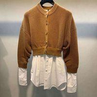 Original high quality real version Aw dawangjia 2020 new women's fake two piece knitted cardigan stitching shirt early autumn sweater coat women's fashion