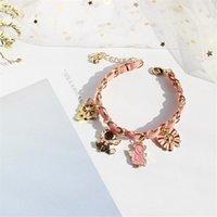 سوار المنسوجة رائعة معدنية حزام جلد ساكورا سلسلة اليد سلسلة هدية صغيرة لصديقة فتاة امرأة G157 سحر أساور