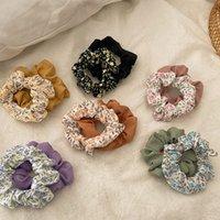 2Pcs Set Floral Print Hair Ties Ring Women Elastic Hair Rubber Bands Solid Korean Ponytail Hair Accessories