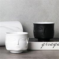 Heißer nordischer Mann Gesicht Keramik Kleine Vase Blumentopf Sukkulenten Orchidee Indoor Pflanzer Home Decor Creative Container Halter CachePot 1425 V2