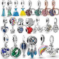 925 فضة قلادة الجميلة مجوهرات الأميرة اللباس سحر صالح باندورا الإسورة سوار الخرز هدية صنع للنساء