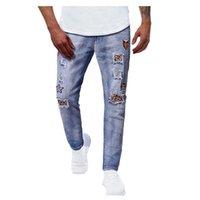 Azul clássico designer denim ny magro homens casuais de alta qualidade jogging potlood long jeans
