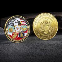 الحرف الولايات المتحدة الأمريكية البحرية USAF USMC الجيش ساحل الحرس حرية النسر 24 كيلو الذهب لوحة نادرة تحدي كوين جمع خمس دول عسكرية رئيسية HH21-410
