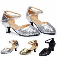 Womail Shoes امرأة الصنادل المتوسطة كعب إمرأة قاعة التانغو لاتينية السالسا الرقص أحذية الترتر الرقص الاجتماعي العمل الصنادل F6VX #