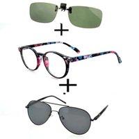 Sunglasses 3Pcs!!! Retro Round Light Reading Glasses For Men Women + Polarized Double Bridge Alloy Beach+ Clip