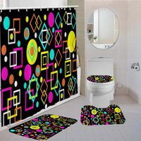 Shower Curtains Color Graphics Curtain Kit 3D Printing High Quality Bathroom Products Non-slip Floor Mats Waterproof Sets