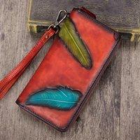 Wallets Vintage Hand Painted Genuine Leather Leaf Designer Women's Clutch Wallet Zipper Closure Female Wristlets Purse Lady Coin Pocket