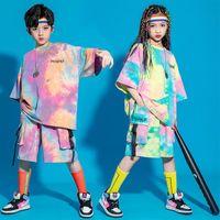 무대 착용 아이 여름 힙합 의류 그래픽 티 넥타이 염료 대형 T 셔츠 탑 streetwear화물 반바지 여자 소년을위한 댄스 의상 옷