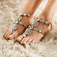 Arden Furtado 2021 Summer Fashion Flat Sandals Crystal Rhinestone Shoes Woman Flip-flops T-strap Flowers Ladies 42 43