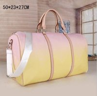 50 см женщин мужские сумки мода Duffle сумка, кожаные сумки багажа большая емкость спорта