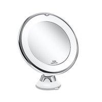Miroir de vanité de maquillage de maquillage 10x avec des lumières, LED lumineux de grossissement cosmétique lumineux maquillage élévateur d'objectif blanc pour la salle de bain de la salle de bains DHL