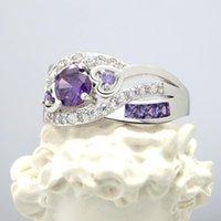 Cristallo viola Hollow Out Cuore Anello Elegante Ragazza Intarsia Quattro Artiglio Zircone Argento Colore Charm Lady Lady Engagement Jewelry anelli di nozze